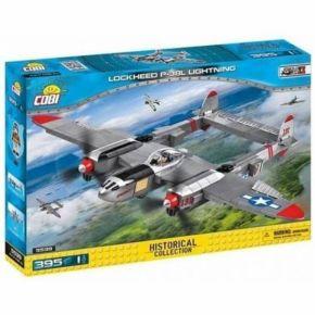 Avião de Caça Americano Lockheed P-38 Lightning - Blocos Para Montar - COBI - 395 Peças