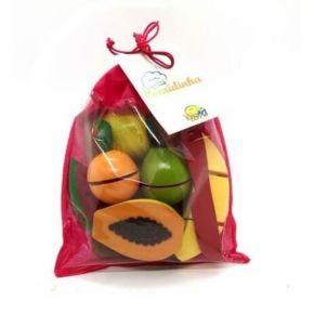 Coleção Comidinhas - Kit 5 Frutinhas com Corte + Faca + Tábua - NewArt