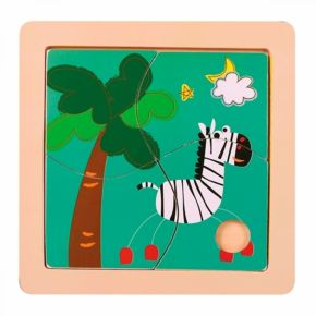 Quebra-Cabeça 4 Peças - Zebra - Dican