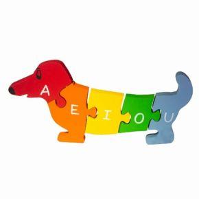 Quebra-Cabeça com Vogais e Números - Cachorro - Fábrika dos Sonhos