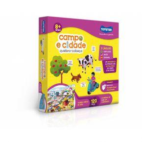 Quebra-Cabeça Grandão - Campo e Cidade (Trilíngue) - 120 Peças - Toyster